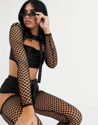 Without You long sleeve mesh overlay crop top in black