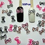 TOOGOO(R) Nail Art 3d 50 Mix PRINT BOW /RHINESTONE for Nails, Cellphones