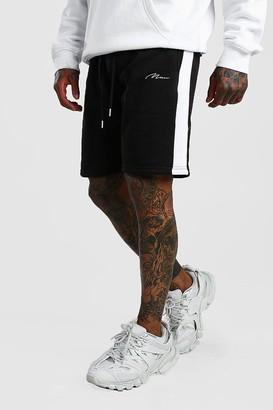 boohoo Mens Black MAN Signature Jersey Short with Side Panel, Black