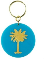 The Well Appointed House Carolina Blue Acrylic Key Chain with Gold Palm Tree - IN STOCK IN OUR GREENWICH STORE FOR QUICK SHIPPING