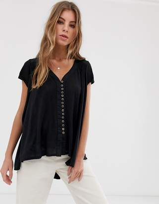 Free People Highland button down t-shirt-Black