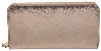 Bvlgari Metallic Bronze Leather Zip Around Wallet