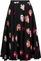 Rochas Pleated floral-print silk midi skirt