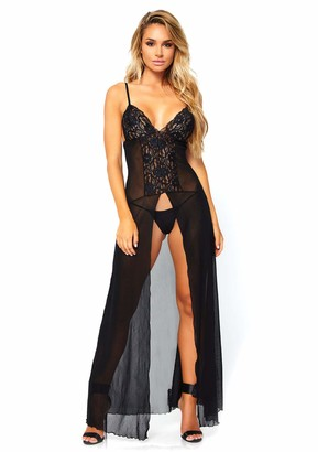 Leg Avenue Women's 2 PC. Mesh and Lace High Slit Long Gown and g-String Panty