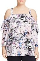 NYDJ Plus Floral Print Ruffle Cold Shoulder Top
