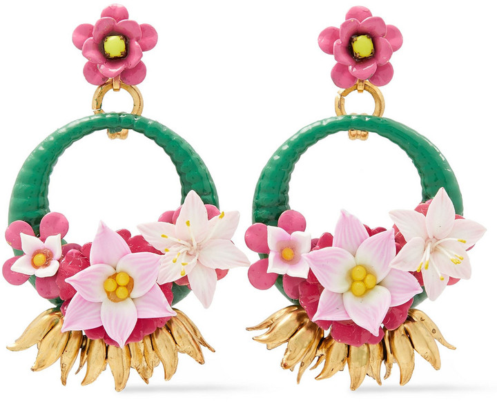 Elizabeth Cole 24-karat Gold-plated Clay, Enamel And Swarovski Crystal Earrings