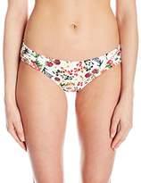 Jessica Simpson Women's Garden Party Floral Side Shirred Hipster Bikini Bottom