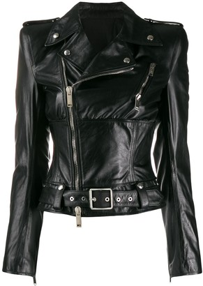 Unravel Project Asymmetric Leather Jacket