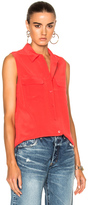 Equipment Sleeveless Slim Signature Top in Pink.