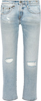 R 13 Cropped distressed mid-rise boyfriend jeans