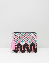 South Beach Bright Embroidered Clutch Bag