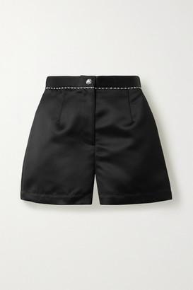 Fleur Du Mal Crystal-embellished Duchesse-satin Shorts - Black