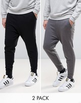 Asos Drop Crotch Joggers In Black/Charcoal Marl 2 PACK SAVE