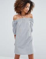 Glamorous Stripe Off Shoulder Dress