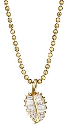 Anita Ko 18K Yellow Gold & Diamond Small Palm Leaf Pendant Necklace