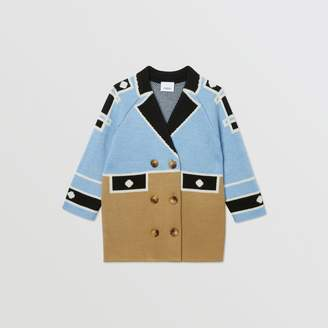Burberry Childrens Trompe L'Oeil Intarsia Wool Coat
