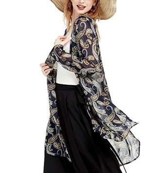 Basic Model Swimsuit Cover Ups for Women Vintage Kimono Cardigan Floral Bikini Cover Up