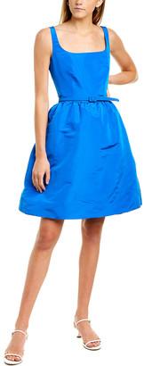 Oscar de la Renta Belted Silk A-Line Cocktail Dress