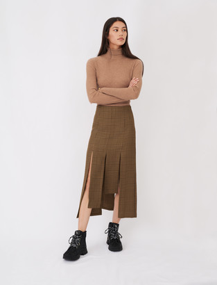 Maje Asymmetric skirt with flaps and checks