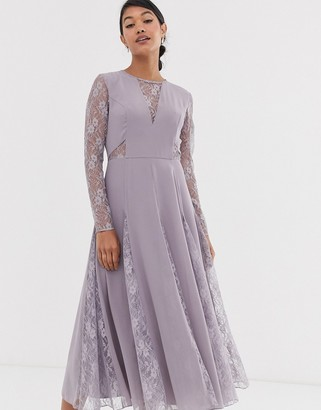 Asos Design DESIGN midi dress with long sleeve and lace panelled bodice-Purple