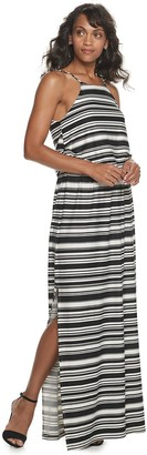 Nina Leonard Women's Striped Halter Neck Spaghetti Strap Maxi Dress