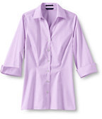 Classic Women's Petite 3/4 Sleeve Splitneck No Iron Pinpoint Shirt-Misty Lilac
