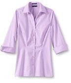 Classic Women's Regular 3/4 Sleeve Splitneck No Iron Pinpoint Shirt-French Blue/White