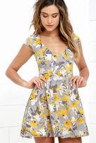 LuLu*s City Stylista Grey and Yellow Floral Print Skater Dress