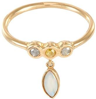 Xiao Wang Diamond marquise opal 18k gold ring