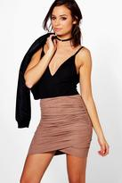 Boohoo Avah Rouched Side Suedette Mini Skirt
