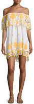 Miguelina Angelique Off-the-Shoulder Tropical Lace Coverup Dress, White with Mango