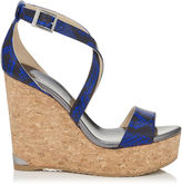 Jimmy Choo PORTIA 120 Cobalt Snake Print Leather Cork Wedges
