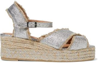 Castaner Bromelia Frayed Metallic Linen Wedge Espadrille Sandals