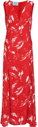 Prada abstract-print V-neck dress