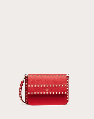Valentino Small Rockstud Grainy Leather Crossbody Bag Women Rouge Pur 100% Pelle Di Vitello - Bos Taurus OneSize