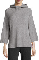 Magaschoni Hooded Ribbed Wool Sweater, Stone