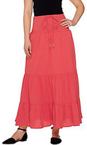 Denim & Co. As Is Gauze Tiered Skirt with Waist Tie Detail