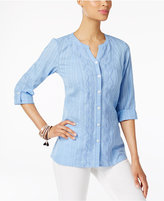 JM Collection Cotton Striped Roll-Tab Shirt, Only at Macy's