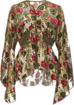 Anna Sui Tossed Roses Metallic Velvet Top