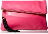 MG Collection Snakeskin Foldover Clutch