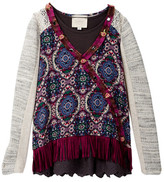 Hannah Banana Mixed Media Twofer Top With Fringe Detail (Big Girls)