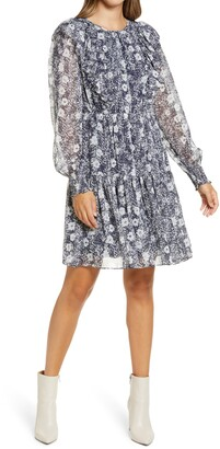 Rachel Parcell Metallic Stripe Floral Long Sleeve Dress