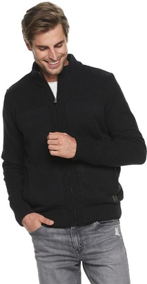 X-Ray Men's Xray Zip Up Sweater With Stand Up Collar
