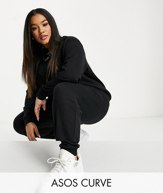 ASOS DESIGN Curve tracksuit ultimate sweat / jogger with tie in organic cotton in black