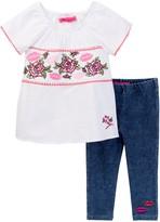 Betsey Johnson Embroidered Top & Knit Denim Legging Set (Little Girls)