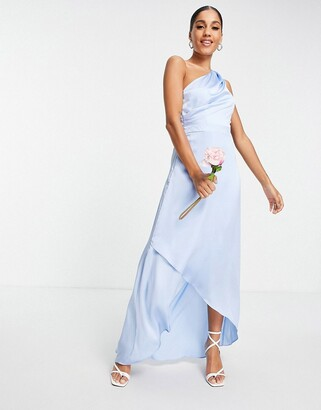 TFNC Bridesmaid one shoulder maxi dress in light blue