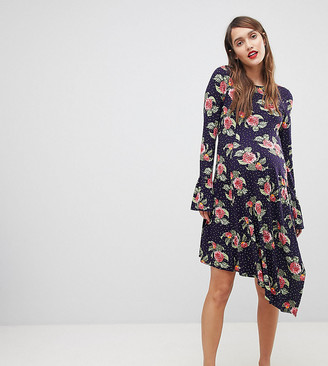 Asos Mini Dress With Hanky Hem And Frill Cuff In Spot Floral Print-Multi