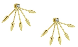 Pamela Love Five Spike 10K Gold with Diamond Stud Earring