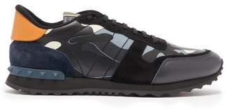 Valentino Rockrunner Canvas And Suede Trainers - Mens - Navy Multi