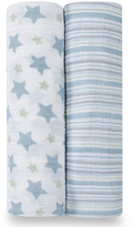 Aden Anais Blue Prince Charming Swaddling Blanket - Set of Two
